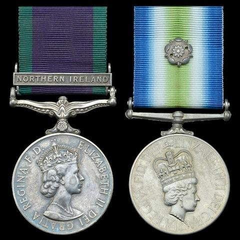 Curry's Northern Ireland and Falkland campaign medals - the troop got no medals for the siege - Credit: Bournemouth News & Picture Service/Jan Starnes