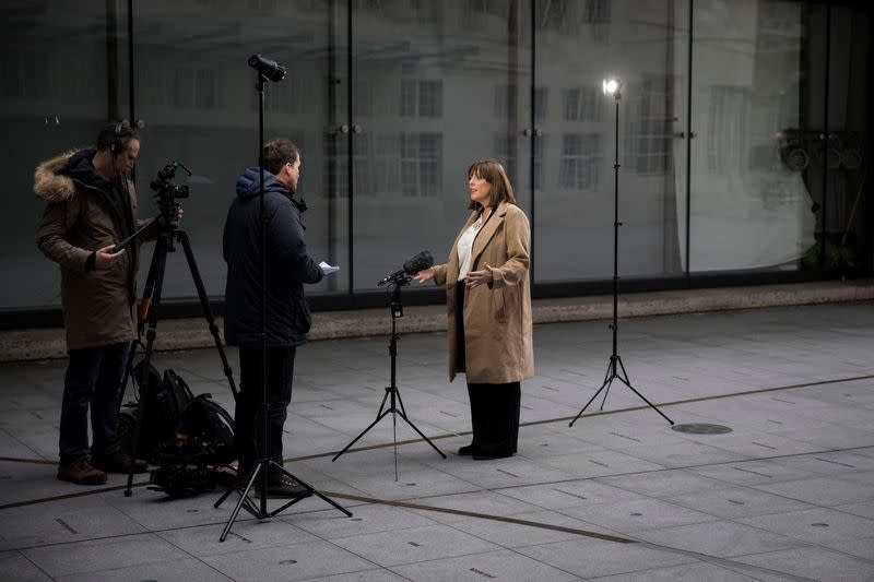 Britain's opposition Labour Party leadership contender Phillips leaves BBC HQ in London