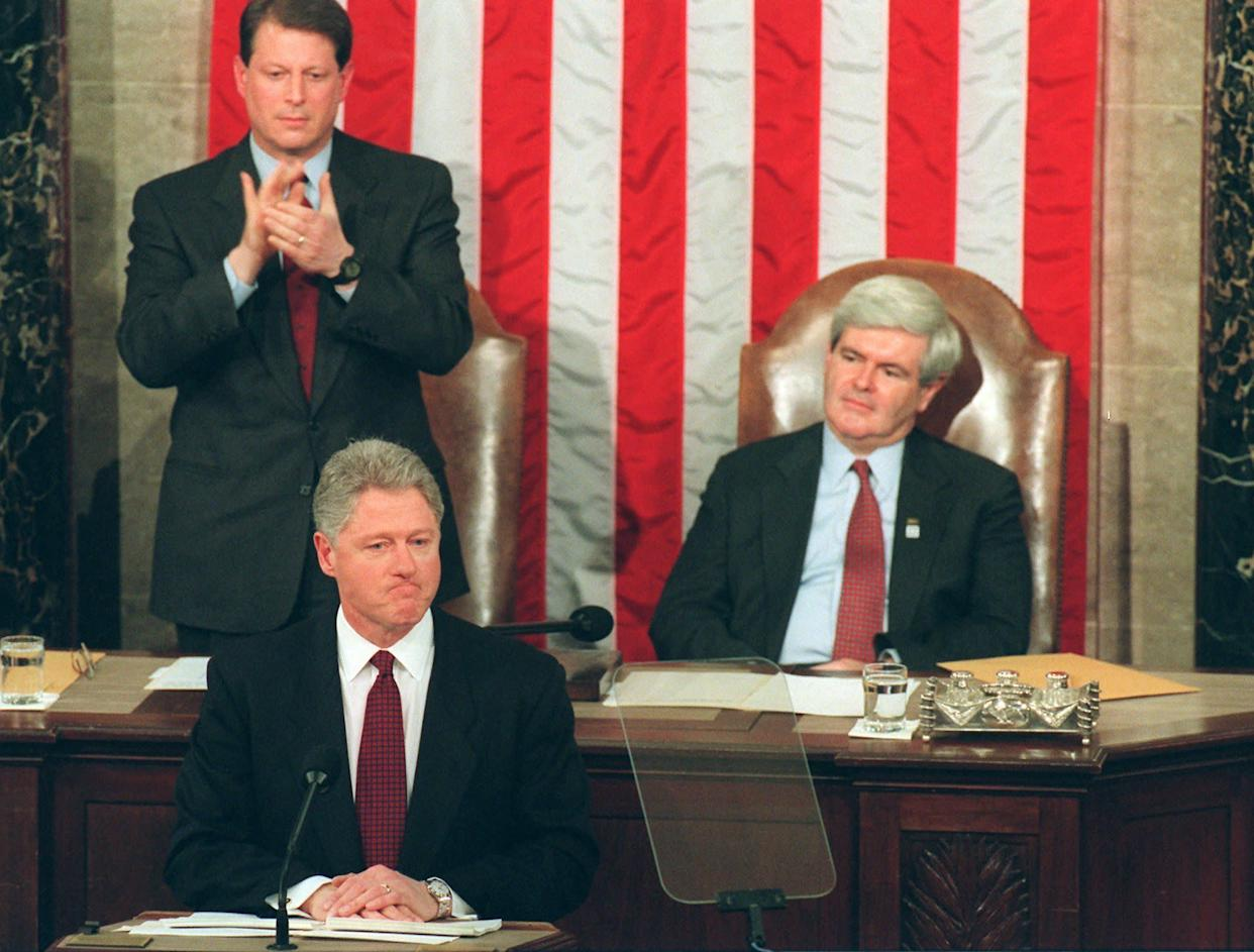 In his 1996 State of the Union speech, President Bill Clinton called out Republicans for shutting down the government. (Photo: ASSOCIATED PRESS)
