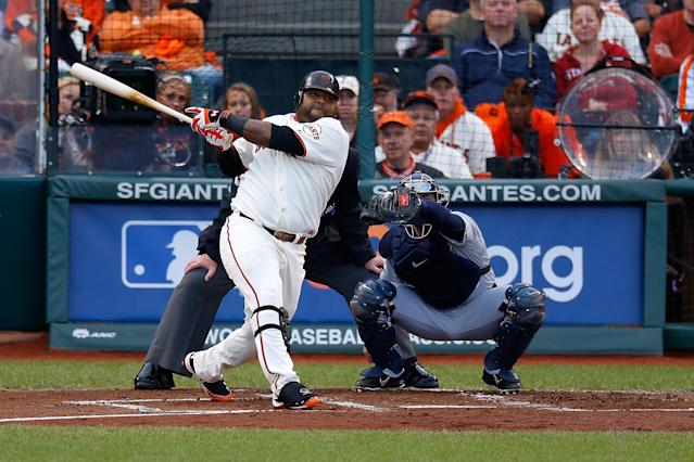 SAN FRANCISCO, CA - OCTOBER 24: Pablo Sandoval #48 of the San Francisco Giants hits a solo home run to center field against Justin Verlander #35 of the Detroit Tigers in first inning during Game One of the Major League Baseball World Series at AT&T Park on October 24, 2012 in San Francisco, California. (Photo by Jason O. Watson/Getty Images)