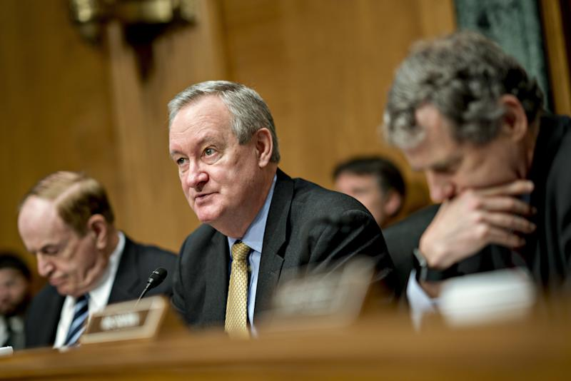 Sen. Mike Crapo (R-Idaho) speaks during a hearing in Washington, D.C., on Feb. 6, 2018.  (Andrew Harrer/Bloomberg via Getty Images)