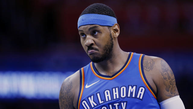 Thunder forward Carmelo Anthony is nearing the end … of a not great season. (AP)