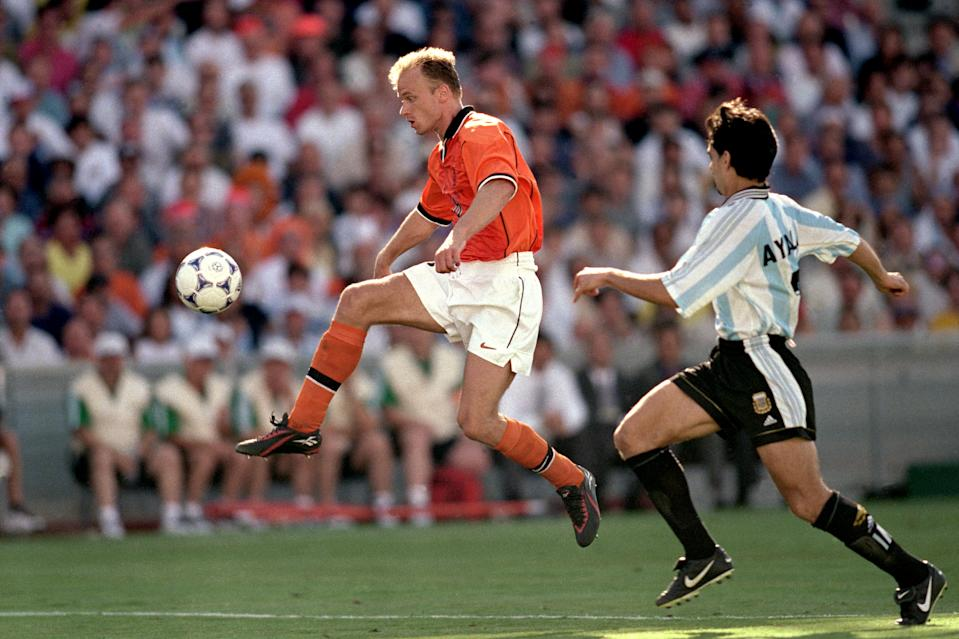 Dennis Bergkamp's winning goal, on a gorgeous long ball from Frank de Boer, punctuated the fireworks of the 1998 World Cup quarterfinal between the Netherlands and Argentina. (Photo by Michael Steele/EMPICS via Getty Images)