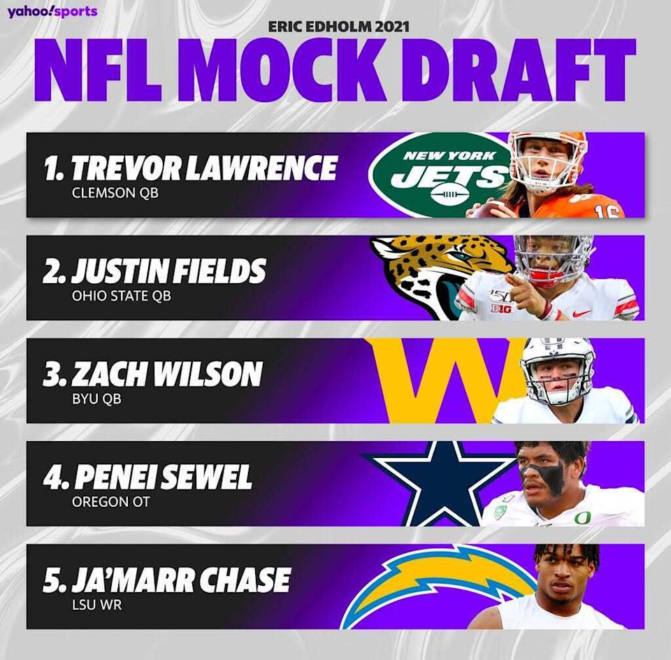 A quick look at how the top five picks of the 2021 NFL draft are shaping up entering Week 10. (Amber Matsumoto/Yahoo Sports)