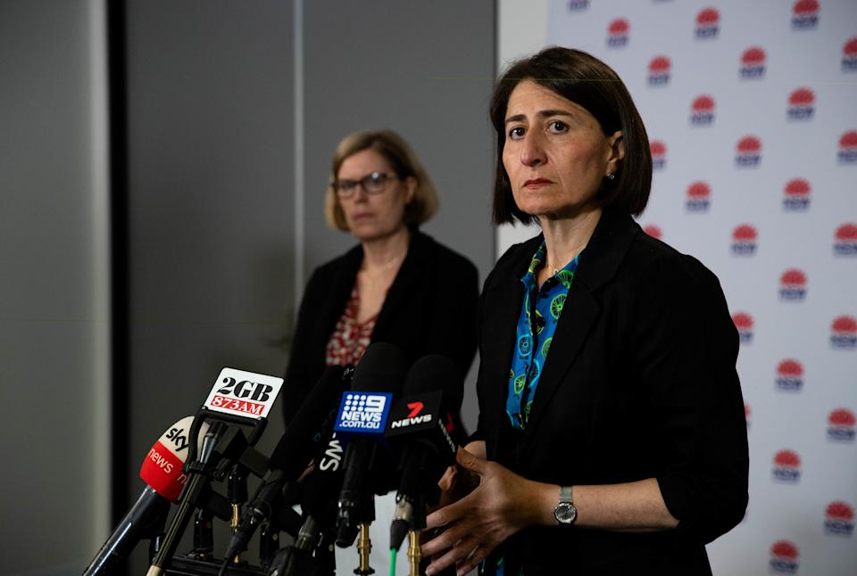 NSW Premier Gladys Berejiklian speaks at a press conference next to Chief Health Officer Dr Kerry Chant.