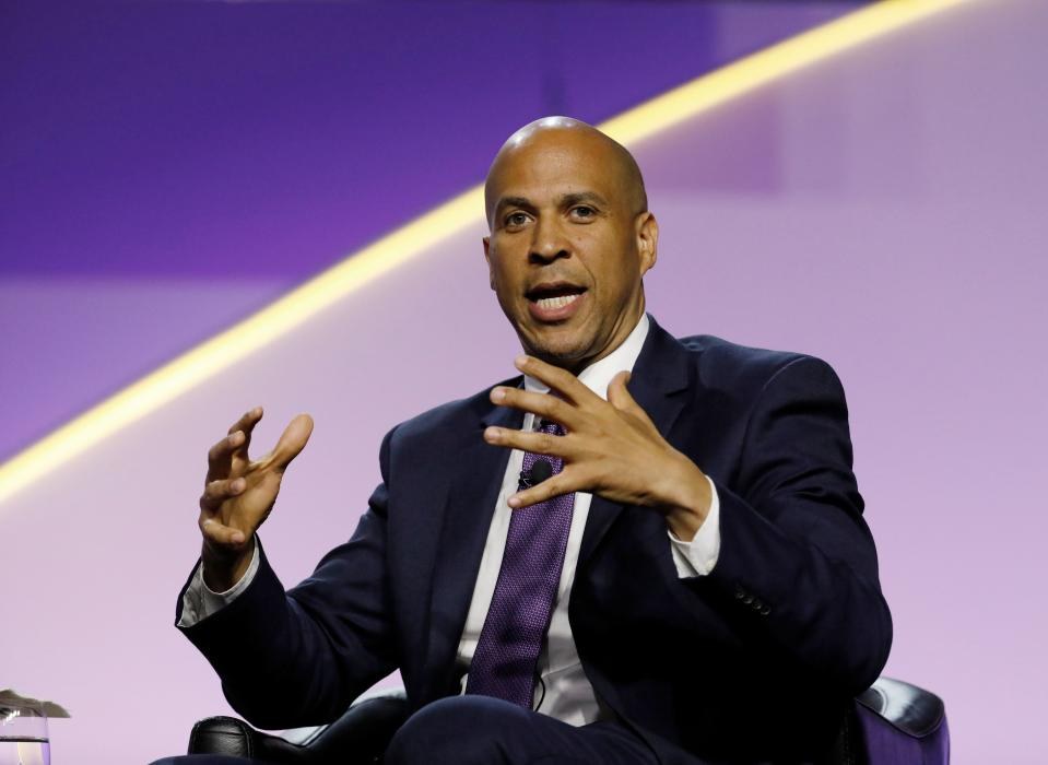 Democratic presidential hopeful Cory Booker addresses the Presidential Forum at the NAACP's 110th National Convention at Cobo Center on July 24, 2019, in Detroit, Michigan. (Photo by JEFF KOWALSKY / AFP)        (Photo credit should read JEFF KOWALSKY/AFP/Getty Images)