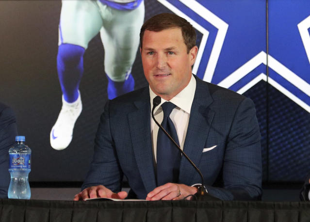 FILE - In this May 3, 2018, file photo, Dallas Cowboys tight end Jason Witten announces his retirement from football at the NFL team's training facility and headquarters in Frisco, Texas. Three new voices will work ESPN's Monday night games this NFL season: play-by-play announcer Joe Tessitore, analysts Jason Witten and Booger McFarland. (AP Photo/Richard Rodriguez, File)