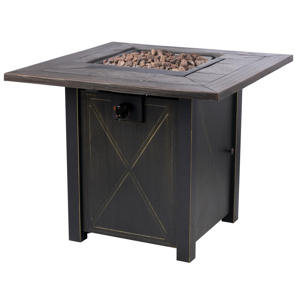 Complete with lava rocks and a protective cover, this fire pit has all the bells and whistles. (Photo: Walmart)