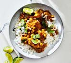 """<p>Sweet bananas blended with onion, garlic and spices creates a complex base for this hearty stew. Skip Step 1 and stir in leftover turkey at the end.</p><p><em><a href=""""https://www.womenshealthmag.com/food/a28901814/healthy-banana-chicken-curry-recipe/"""" rel=""""nofollow noopener"""" target=""""_blank"""" data-ylk=""""slk:Get the recipe from Women's Health »"""" class=""""link rapid-noclick-resp"""">Get the recipe from Women's Health »</a></em></p>"""
