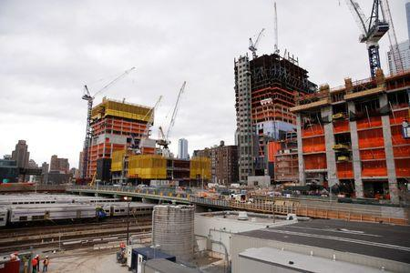 Construction is seen in the Hudson Yards area of the West Side of Manhattan in New York