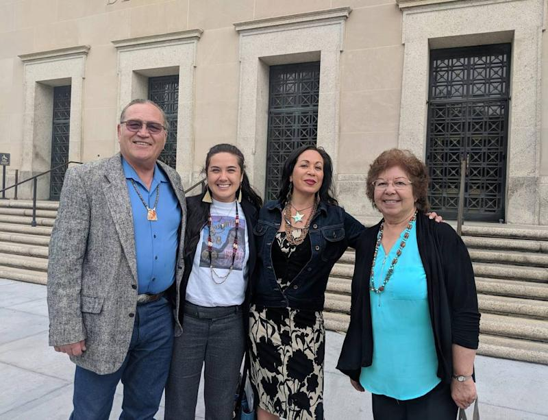 Members of the Southern Sierra Miwuk Nation outside the Office of Federal Acknowledgment in Washington, D.C., in April 2019. From left, Bill Leonard, Irene Vasquez, Tisina Parker, and Lois Martin.