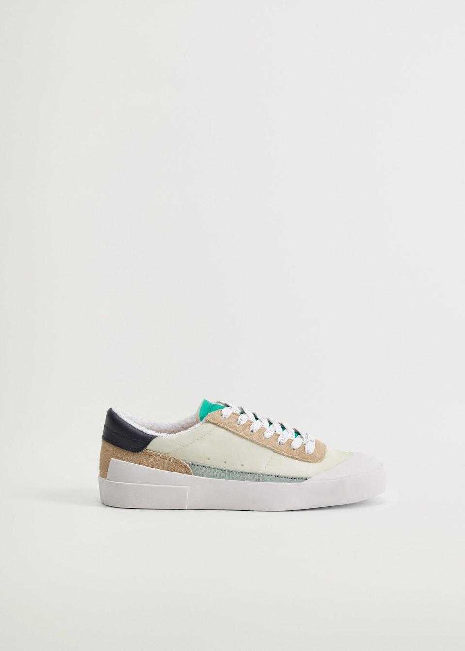 <p>While these <span>Mango Sustainable Leather Sneakers</span> ($40, originally $80) definitely have a slightly cleaner look to them, the colorblocking gives off the same made-you-look-twice effect.</p>
