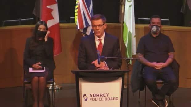 Surrey police Chief Norm Lipinski speaks at a news conference announcing his selection on Friday Nov. 20, 2020. He says the force should be up and running by fall 2021. (City of Surrey - image credit)