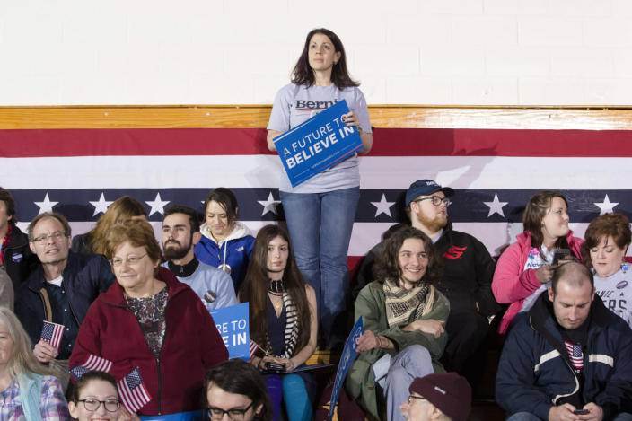 <p>Supporters wait for the arrival of Democratic presidential candidate Sen. Bernie Sanders at Concord High School on Feb. 9, 2016, in Concord, N.H. (John Minchillo/AP)</p>