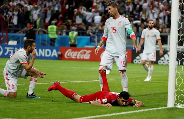 Soccer Football - World Cup - Group B - Iran vs Spain - Kazan Arena, Kazan, Russia - June 20, 2018 Iran's Mehdi Taremi reacts after missing a chance to score REUTERS/Jorge Silva