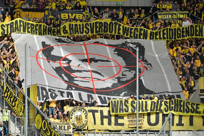 This is the banner that got Borussia Dortmund supporters banned from Hoffenheim. (Photo by Uwe Anspach/picture alliance via Getty Images)