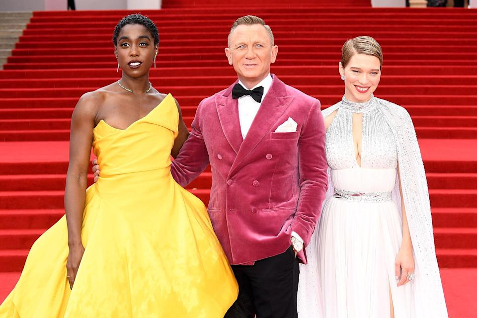 """Lashana Lynch, Daniel Craig and Léa Seydoux attend the World Premiere of """"NO TIME TO DIE"""" at the Royal Albert Hall on September 28, 2021 in London"""