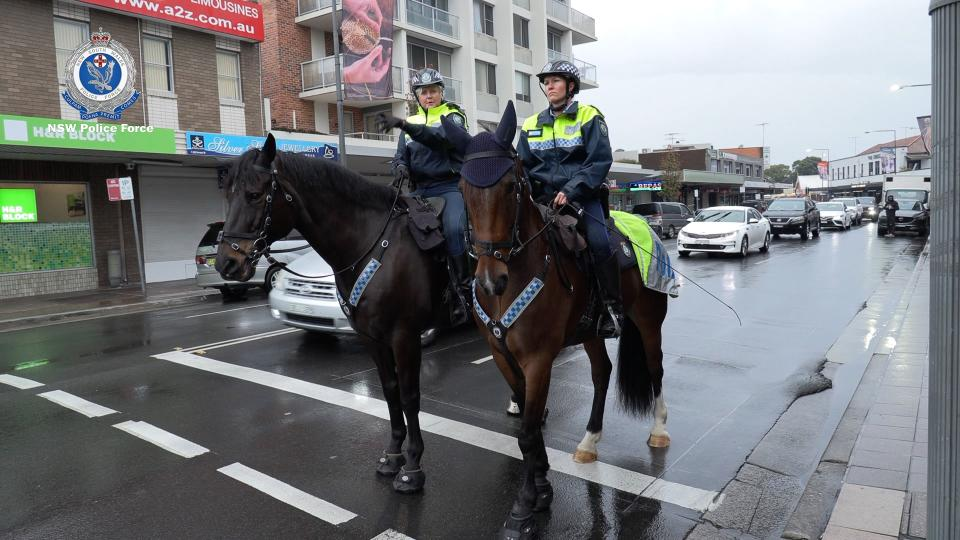 Mounted Police were seen in Fairfield, amid the police's operation to ensure compliance. Source: NSW Police