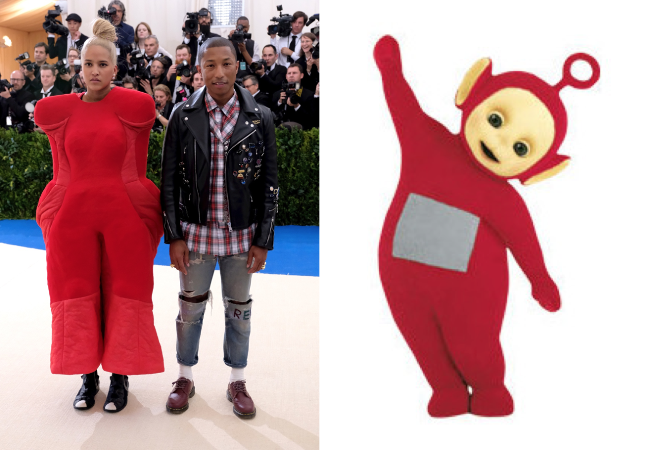 <p>Helen Lasichanh earned almost immediate comparisons to the red Teletubby thanks to her bubbly Comme des Garçons suit.<br /><i>[Photo: AP]</i> </p>
