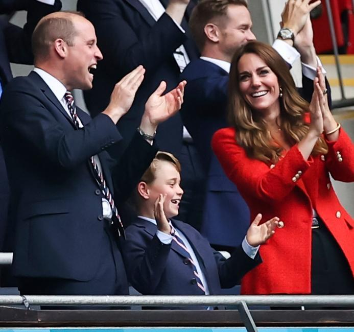 Prince William, Prince George, and Kate Middleton attend the Euro Finals on July 11, 2021. Image: Christian Charisius/picture-alliance/dpa/AP Images - Credit: Christian Charisius/picture-alliance/dpa/AP Images.