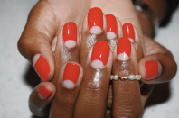 """<p>If you're more of a minimalist and prefer to stick to one shade instead of three, opt for this <a href=""""https://www.goodhousekeeping.com/beauty/nails/g2766/easy-nail-art-designs/"""" rel=""""nofollow noopener"""" target=""""_blank"""" data-ylk=""""slk:simple nail design"""" class=""""link rapid-noclick-resp"""">simple nail design</a>, a chic negative space half moon mani.</p>"""