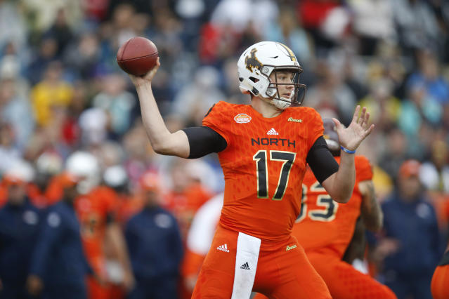 Josh Allen of Wyoming, shown here during the Senior Bowl, should be a first-round pick. (AP)
