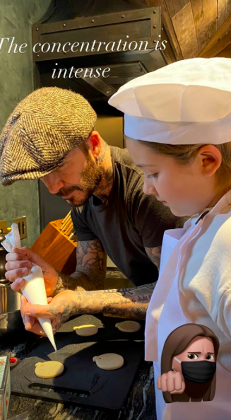 Victoria Beckham posts images of husband David's afternoon baking session with daughter Harper (credit: Victoria Beckham/Instagram)