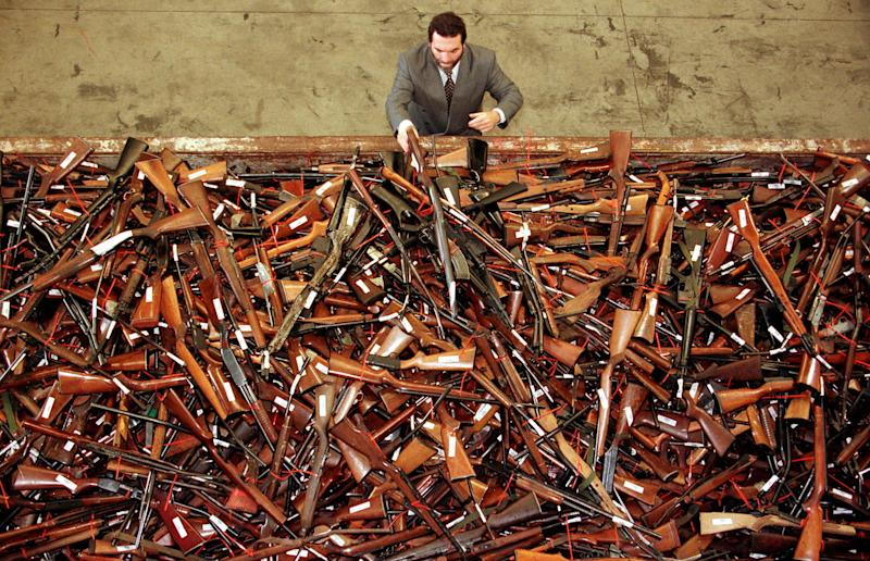Guns handed in during the 1996 buyback program in Sydney. More than 700,000 firearms were handed over in the government program. (David Gray / Reuters)
