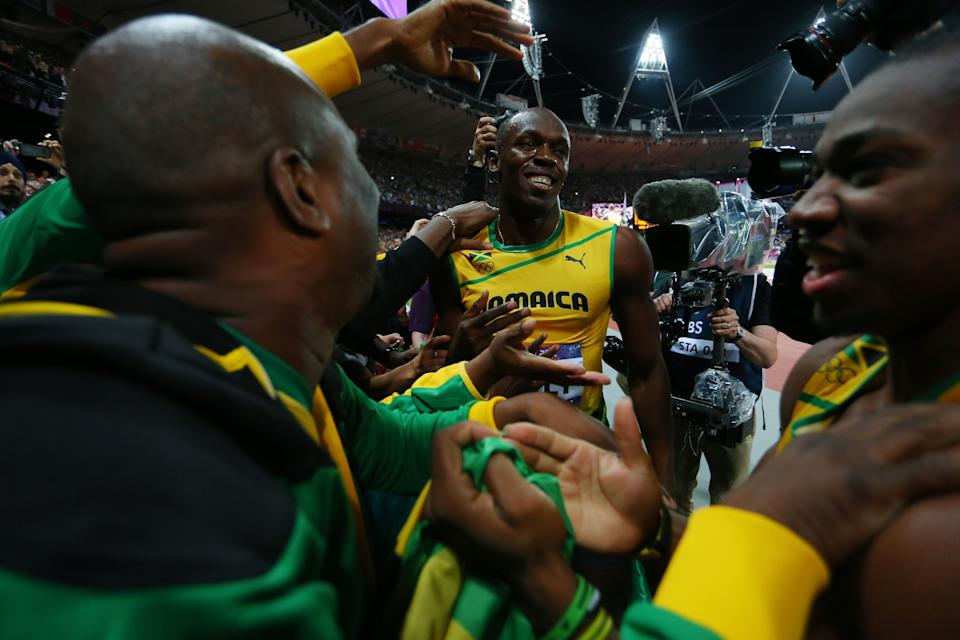 LONDON, ENGLAND - AUGUST 05: Usain Bolt of Jamaica celebrates winning gold in the Men's 100m Final on Day 9 of the London 2012 Olympic Games at the Olympic Stadium on August 5, 2012 in London, England. (Photo by Alexander Hassenstein/Getty Images)