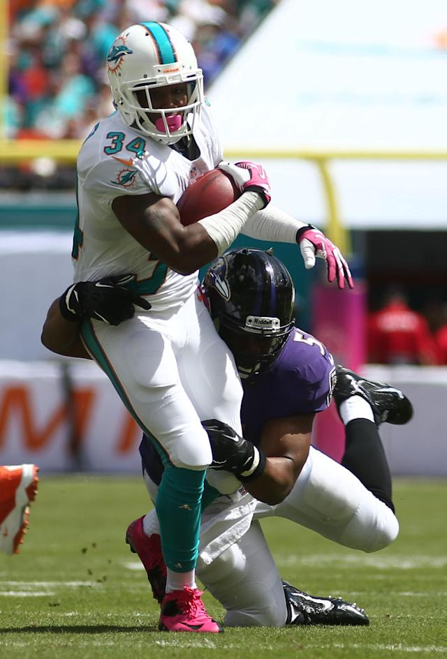 Baltimore Ravens inside linebacker Daryl Smith (51) tackles Miami Dolphins running back Marcus Thigpen (34) during the first half of an NFL football game, Sunday, Oct. 6, 2013, in Miami Gardens, Fla. (AP Photo/J Pat Carter)