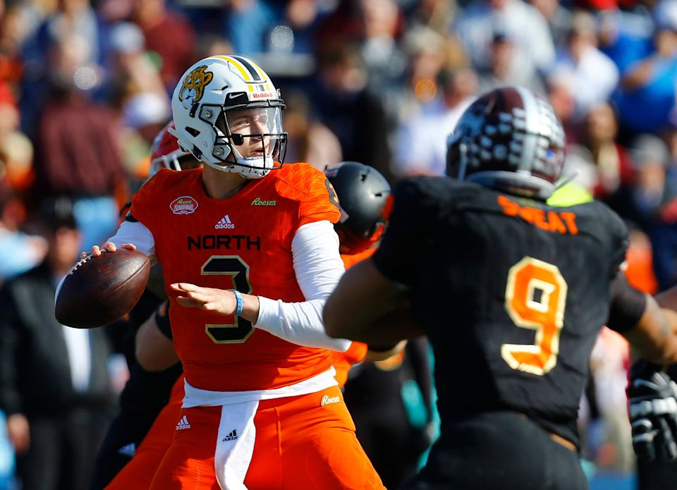 North quarterback Drew Lock of Missouri (3) throws a pass during the first half of the Senior Bowl college football game, Saturday, Jan. 26, 2019, in Mobile, Ala. (AP Photo/Butch Dill)