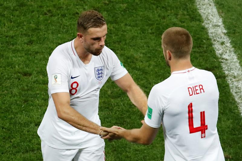 Hauled off: Henderson made way for Eric Dier after suffering a hamstring problem: REUTERS