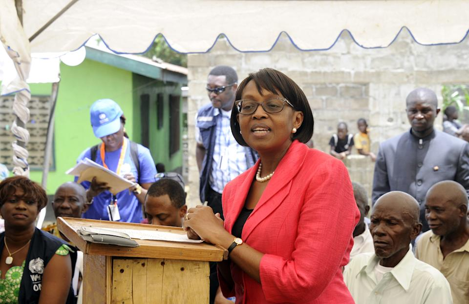 The director of the World Health Organization (WHO) for the Africa region, Matshidiso Moeti speaks during a visit to Zuma Town on the outskirts of the capital Monrovia, on April 22, 2015. (Zoom Dosso/AFP via Getty Images)