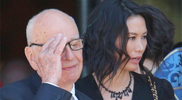 Rupert Murdoch and his wife Wendi Deng Murdoch leave after attending the Dame Elisabeth Murdoch public memorial at St Paul's Cathedral in Melbourne. Photo: Getty.