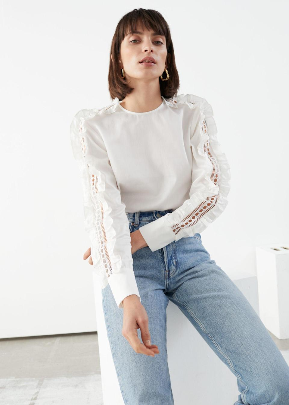 """<br> <br> <strong>& Other Stories</strong> Frilled Embroidery Top, $, available at <a href=""""https://go.skimresources.com/?id=30283X879131&url=https%3A%2F%2Fwww.stories.com%2Fen_usd%2Fclothing%2Ftops%2Fproduct.frilled-embroidery-top-white.0845297001.html"""" rel=""""nofollow noopener"""" target=""""_blank"""" data-ylk=""""slk:& Other Stories"""" class=""""link rapid-noclick-resp"""">& Other Stories</a>"""
