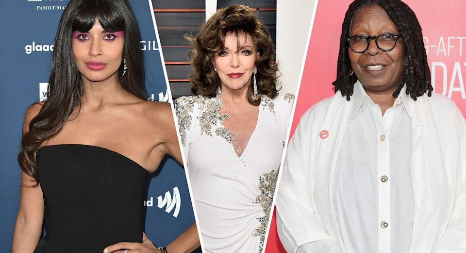 A number of brave A-listers, including Jameela Jamil, Joan Collins and Whoppi Goldberg, have opened up about their own abortion experience [Photos: Getty]