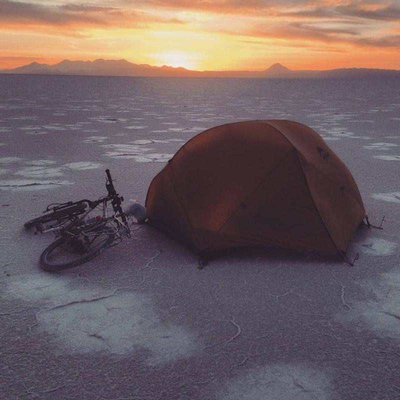 Camping on the salt flats of Bolivia