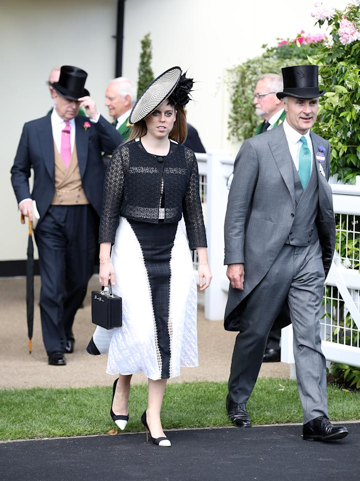 <p>Beatrice's black and white ensemble was a huge sartorial hit for the princess. <em>[Photo: PA]</em> </p>