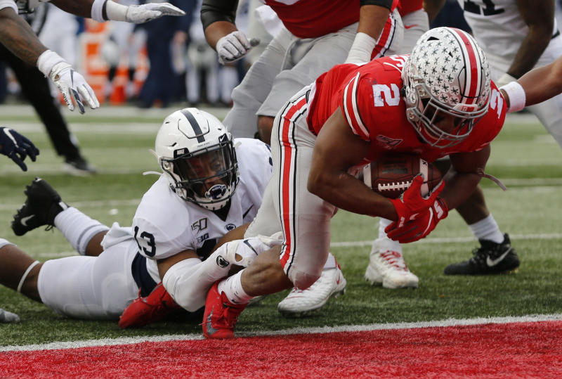 Ohio State running back J.K. Dobbins scores in the first half of Ohio State's win over Penn State. (AP Photo/Jay LaPrete)