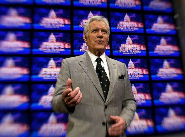 PHOTO: Alex Trebek poses on the set of his game show, 'Jeopardy,' April 21, 2012, during a special taping in Washington, D.C. (The Washington Post via Getty Images, FILE)