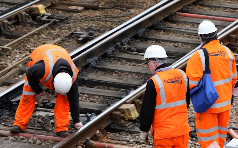 Network Rail engineers work on the track near to Cambridge City train station in the centre of the city.   (Photo by Chris Radburn/PA Images via Getty Images)
