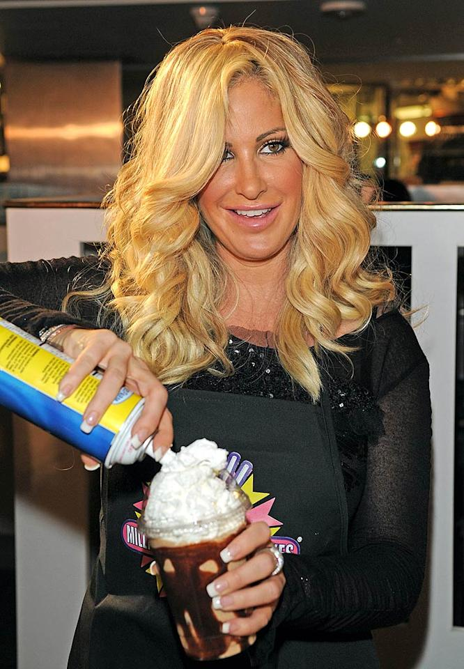 """The """"Tardy for the Party"""" songstress threw on an apron and created her own signature milkshake, which she topped off with lots of whipped cream. Jean Baptiste Lacroix/<a href=""""http://www.wireimage.com"""" target=""""new"""">WireImage.com</a> - October 19, 2010"""