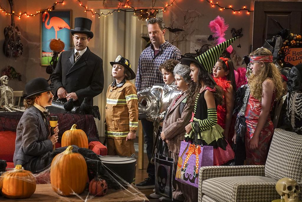 """<p>Oscar and Felix (Matthew Perry, Thomas Lennon) go trick or treating in their apartment building, and, kid you not, it's Felix's first time celebrating Halloween. <br /><br /><b>The """"I Kid, You Not"""" episode of <i>The Odd Couple</i> airs Monday, Oct. 31 at 9:30 p.m. on CBS.</b> <br /><br />(Credit: Ron P. Jaffe/CBS) </p>"""