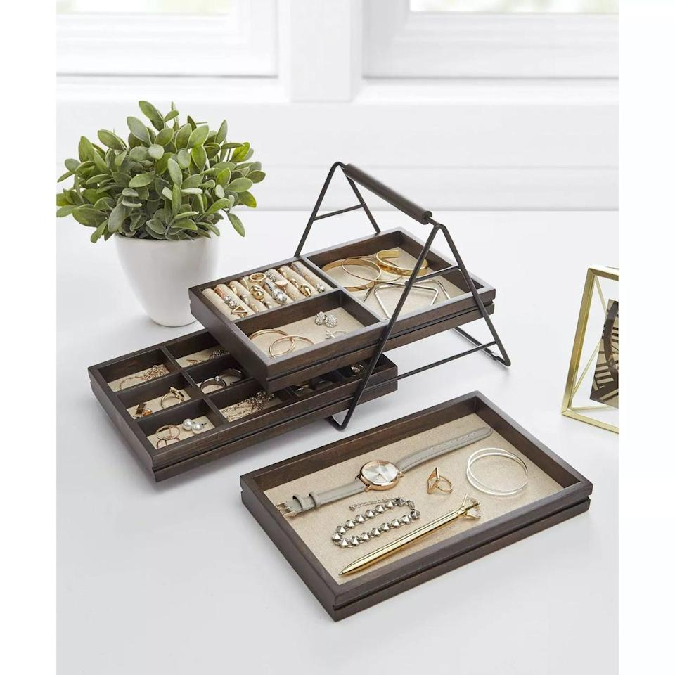 <p>Store your most used rings, bracelettes, necklaces and more with this <span>Terrace Jewelry Storage Box Black/Walnut - Umbra</span> ($37).</p>