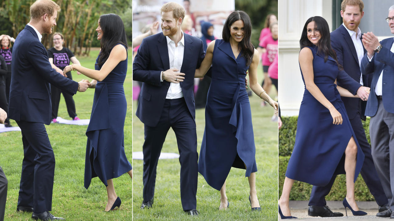 """<p>Prince Harry and Meghan Markle kicked off the <a rel=""""nofollow"""" href=""""https://au.lifestyle.yahoo.com/royal-fever-hits-melbourne-harry-meghan-arrive-003548415.html"""">Melbourne leg of their royal tour</a> in Australia today and their treating fans with plenty of PDAs. Photo: Getty </p>"""