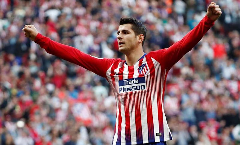 Alvaro Morata in action for Atletico Madrid during his loan in the 2018-19 season. Reuters