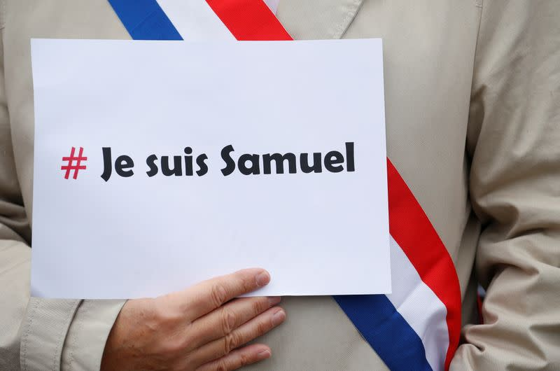 FILE PHOTO: Tribute to Samuel Paty, the French teacher who was beheaded on the streets of the Paris suburb of Conflans St Honorine, in Lille