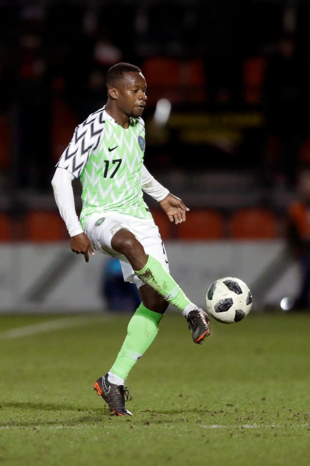 In this photo taken on Tuesday, March 27, 2018, Nigeria's Ogenyi Onazi kicks the ball during the international friendly soccer match between Serbia and Nigeria at The Hive Stadium in London. (AP Photo/Matt Dunham)