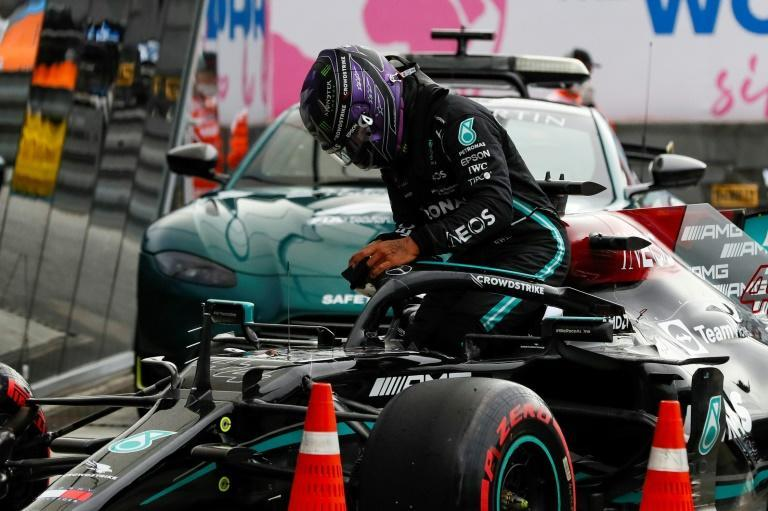 Lewis Hamilton sets out for another tilt at 100 wins from the second row (AFP/Yuri Kochetkov)