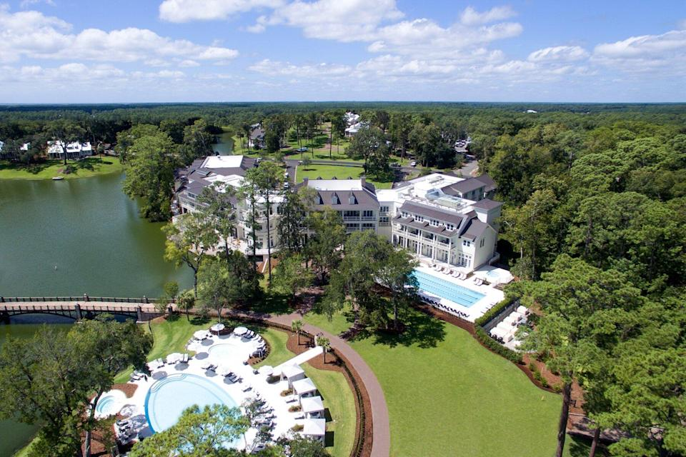 Aerial view of Montage Palmetto Bluff in South Carolina